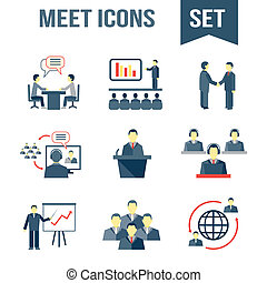 Meet business partners icons set - Business people meeting...