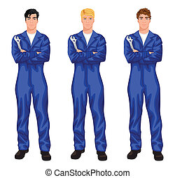 Auto mechanic worker set - Three young handsome mechanic...