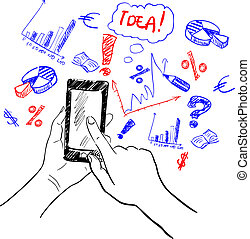 Hands touchscreen sketch business - Hands holding smartphone...