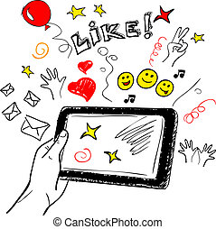 Hand touchscreen sketch social - Hand holding tablet...