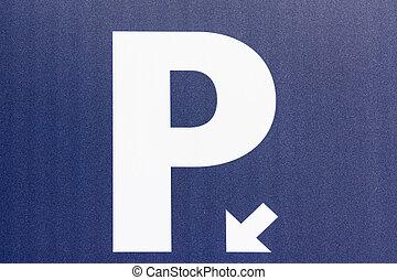 Car Parking Sign Close Up