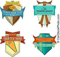 set vector logo retro ribbon badge