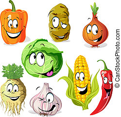 funny vegetable and spice cartoon isolated on white...