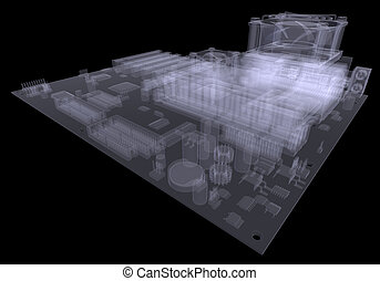 Motherboard X-ray render - Motherboard X-ray isolated render...
