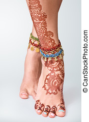 Mehendi painted on legs - Legs decorated with indian mehandi...