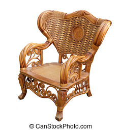 Chair isolated on white - Rattan wicker chair isolated on...