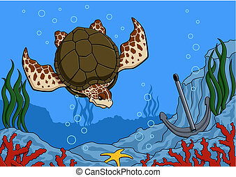 Sea turtle - Illustration of sea turtle swimming. Underwater...
