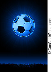 Soccerball hovering over an silhouetted footbal pitch