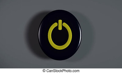 Computer start Button - 3d Computer start Button blinking