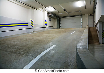 underground car park - Entrance to a modern underground car...