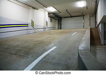 underground car park - Entrance to a modern underground car...