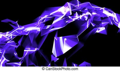 Abstract blue glass fragment curve & laser rays,flowing digital wave background
