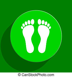 foot green flat icon - modern web flat icon