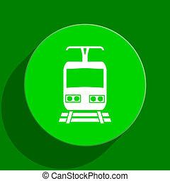 pociąg, zielony, płaski, Ikona