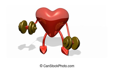 Heart lifting weights - 3d Heart lifting weights