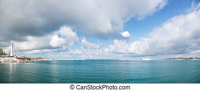 SEVASTOPOL View from the sea on the promenade of Sevastopol,