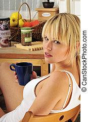 beautiful blond woman drinking coffee - beautiful blond...