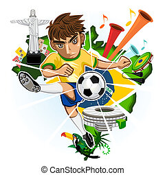 BRAZIL CUP - SOCCER BRAZIL CUP 2014 with background of...