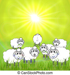 Vector cartoon illustration of sheep in the meadow - Vector...