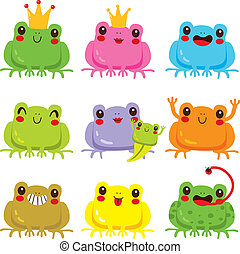 Colorful Frogs Collection - Collection of colorful cute...