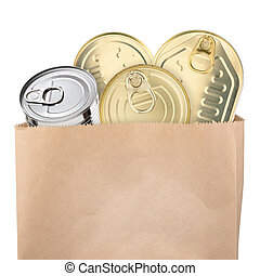 Canned food in paper bag isolated on white