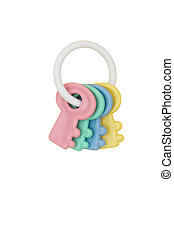 Baby Rattle - Colourful baby rattle isolated on white...