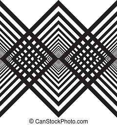 Abstract descending black diamonds fence structure on...