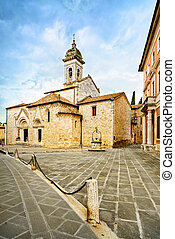 Sant Quirico Orcia Collegiata church, medieval square and...