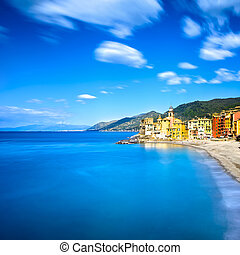 Camogli church on sea and beach view Liguria, Italy -...