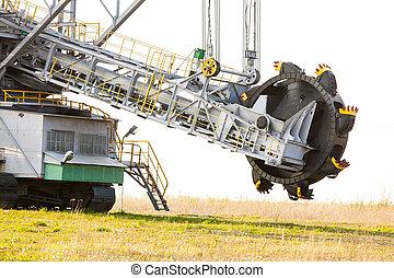 Opencast brown coal mine Bucket wheel excavator - Open pit...