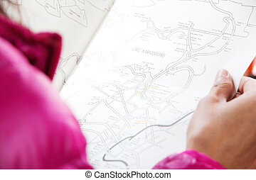 woman with map travel in japan