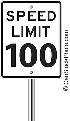 Speed limit 100 traffic sign on white