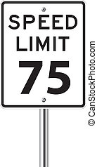 Speed limit 75 traffic sign on white