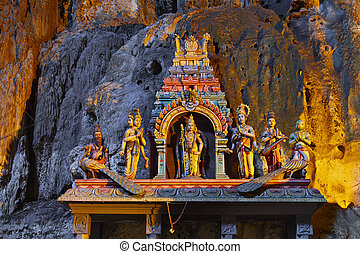 Batu caves - Temple in the middle of a cavern at Batu Caves...