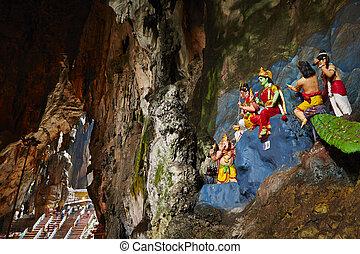 Batu caves - Temple in the middle of a cavern at Batu Caves...