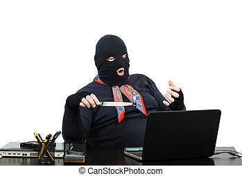 Computer robber in office - Computer robber holding usb...