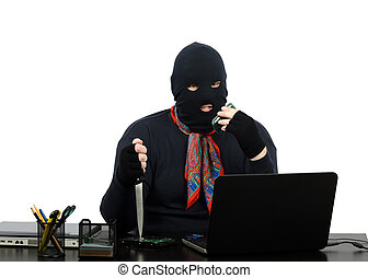 Robber threatening by cell phone - Robber in black balaclava...