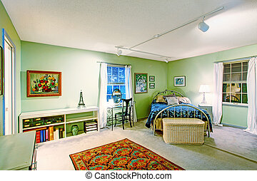 Bedroom with antique bed and wicker chest - Green bedroom...