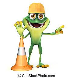 Frog work - 3d render frog illustration construction series...