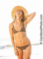 Woman in Bikini - Beautiful natural woman in bikini at the...