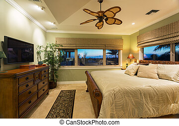 Beautiful Bedroom Interior in New Luxury Home, Interior...
