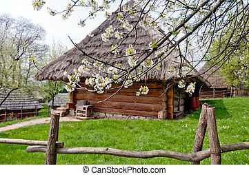 old wooden house Museum of Folk Architecture in Uzhhorod