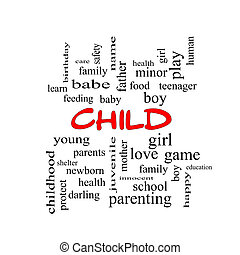 Child Word Cloud Concept in red caps
