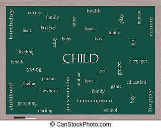 quadro-negro, conceito, palavra, nuvem, criança