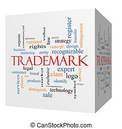 Trademark 3D cube Word Cloud Concept with great terms such...