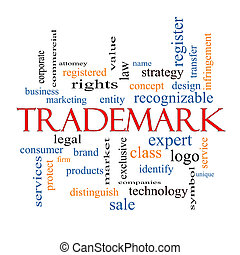 Trademark Word Cloud Concept with great terms such as brand,...