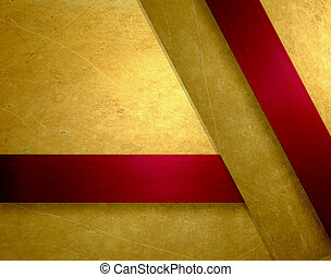 gold background with rich red ribbon