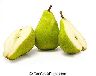 Pears on white - two green pears, one sliced in half, the...