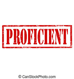 Proficient-stamp - Grunge rubber stamp with text...
