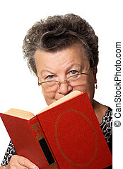 woman with the red book - The old woman with the red book on...